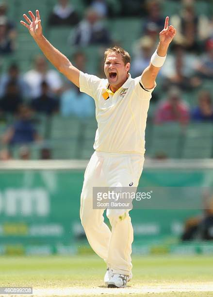 Ryan Harris of Australia appeals unsuccessfully for LBW during day five of the Third Test match between Australia and India at Melbourne Cricket...