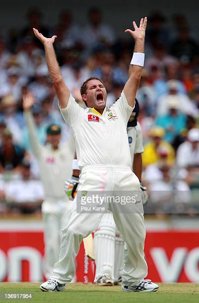 Ryan Harris of Australia appeals unsuccessfuly for the wicket of Gautam Gambhir of India during day one of the third Test match between Australia and...