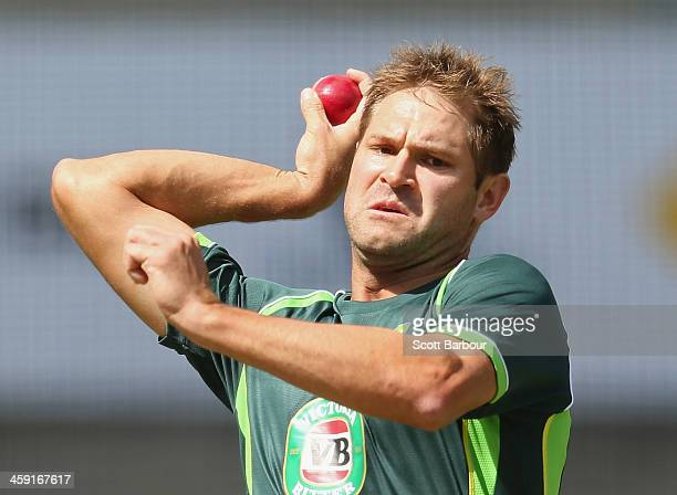 Ryan Harris of Australia bowls during an Australian nets session at the Melbourne Cricket Ground on December 24, 2013 in Melbourne, Australia.