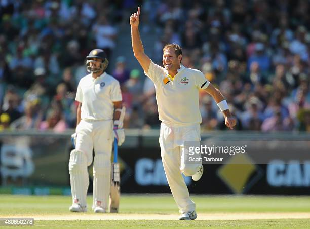 Ryan Harris of Australia celebrates after dismissing Shikhar Dhawan of India during day two of the Third Test match between Australia and India at...