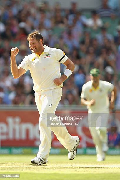 Ryan Harris of Australia celebrates after taking the wicket of MS Dhoni of India during day three of the Third Test match between Australia and India...