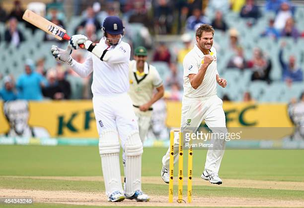Ryan Harris of Australia celebrates after taking the wicket of Graeme Swann of England during day five of Second Ashes Test Match between Australia...