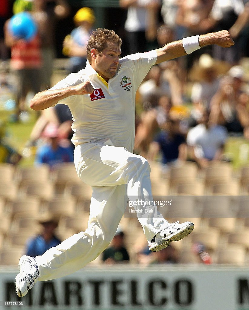 Ryan Harris of Australia celebrates after taking the wicket of Rahul Dravid of India during day four of the Fourth Test Match between Australia and India at Adelaide Oval on January 27, 2012 in Adelaide, Australia.
