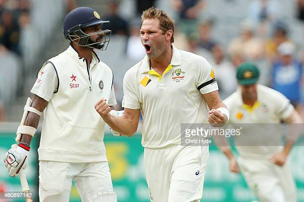 Ryan Harris of Australia celebrates dismissing Shikhar Dhawan of India during day five of the Third Test match between Australia and India at...