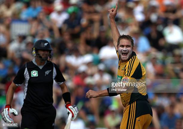 Ryan Harris of Australia celebrates his wicket of Peter Ingram of New Zealand during the One Day International match between New Zealand and...