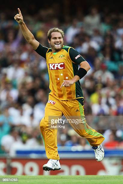Ryan Harris of Australia celebrates taking the wicket of Runako Morton of the West Indies during the Twenty20 International match between Australia...