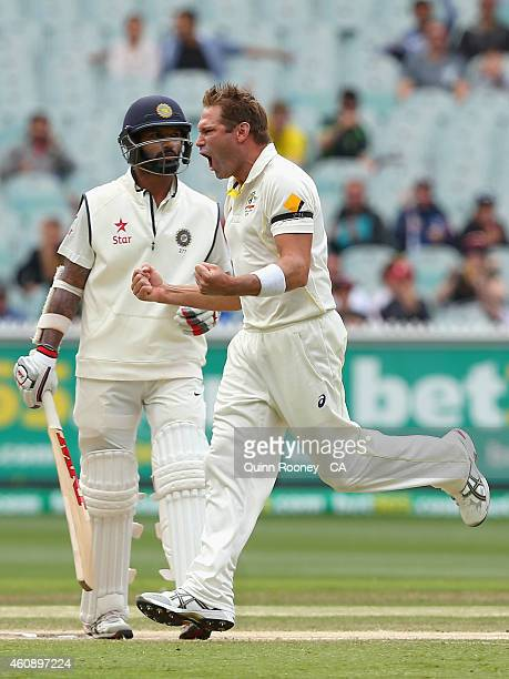 Ryan Harris of Australia celebrates the wicket of Shikhar Dhawan of India during day five of the Third Test match between Australia and India at...