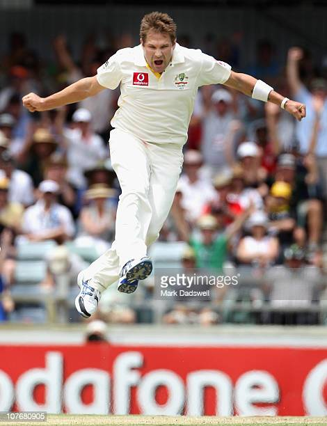 Ryan Harris of Australia celebrates the wicket of Steven Finn of England during day four of the Third Ashes Test match between Australia and England...