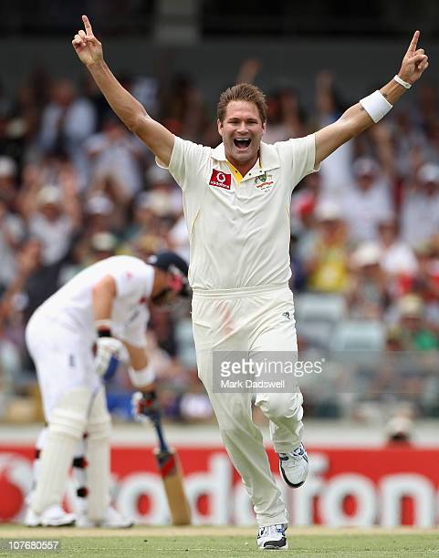 Ryan Harris of Australia celebrates trapping Ian Bell of England lbwduring day four of the Third Ashes Test match between Australia and England at...