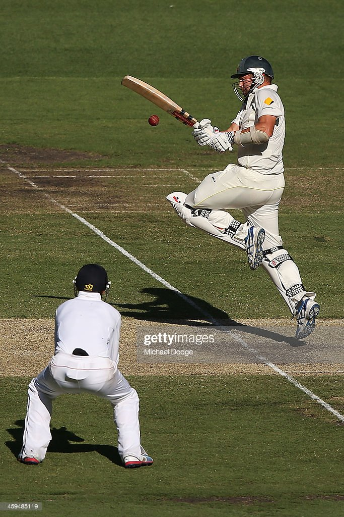 Ryan Harris of Australia is caught by Joe Root of England during day two of the Fourth Ashes Test Match between Australia and England at Melbourne Cricket Ground on December 27, 2013 in Melbourne, Australia.