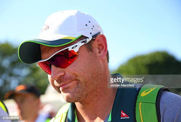 Ryan Harris of Australia leaves the ground after announcing his retirement from cricket after day four of the tour match between Essex and Australia...