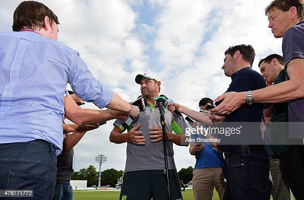 Ryan Harris of Australia speaks to the media after stumps on day three of the tour match between Kent and Australia at The Spitfire Ground St...