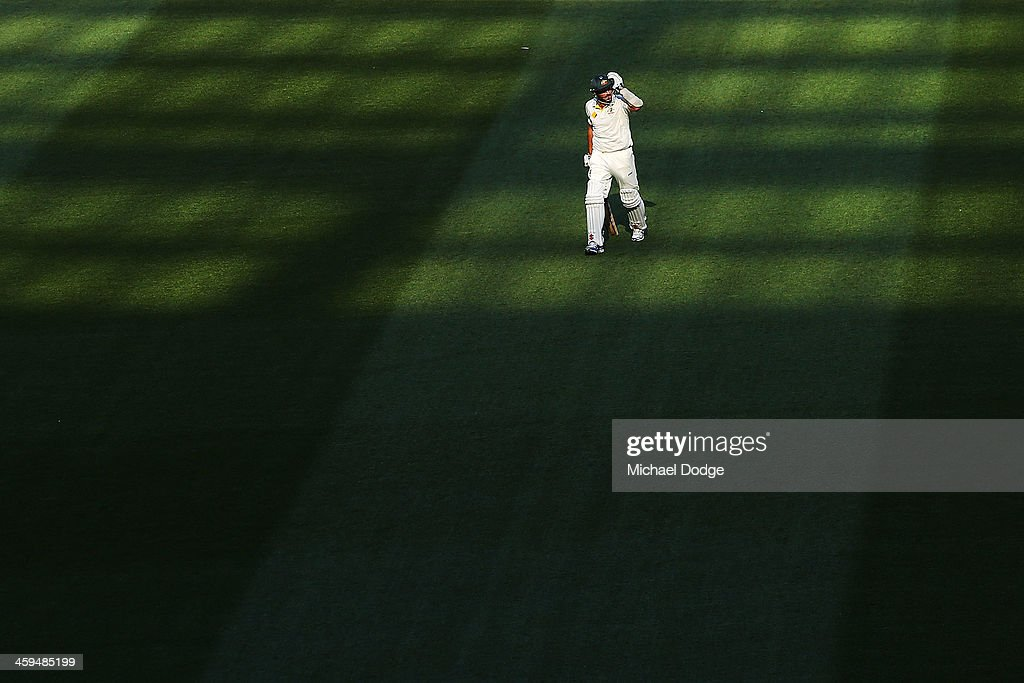 Ryan Harris of Australia walks off after his dismissal during day two of the Fourth Ashes Test Match between Australia and England at Melbourne Cricket Ground on December 27, 2013 in Melbourne, Australia.