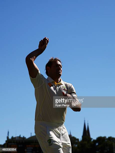 Ryan Harris of Australia warms up during day four of the First Test match between Australia and India at Adelaide Oval on December 12 2014 in...