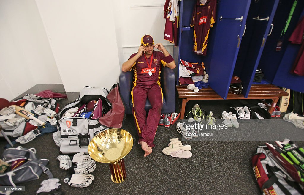 Ryan Harris of the Bulls relaxes in the changing rooms after the Ryobi One Day Cup final match between the Victorian Bushrangers and the Queensland Bulls at Melbourne Cricket Ground on February 27, 2013 in Melbourne, Australia.