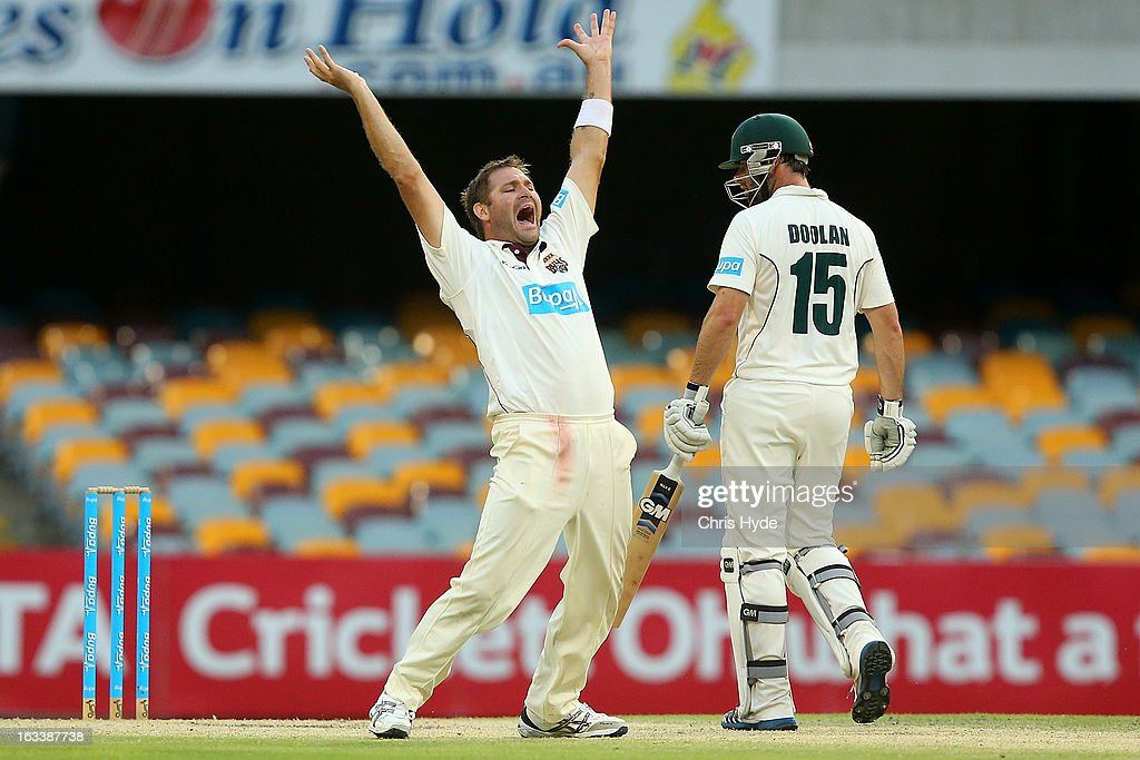 Ryan Harris of the Bulls unsuccessfully appeals for the wicket of Alex Doolan of the Tigers during day three of the Sheffield Shield match between the Queensland Bulls and the Tasmanian Tigers at The Gabba on March 9, 2013 in Brisbane, Australia.