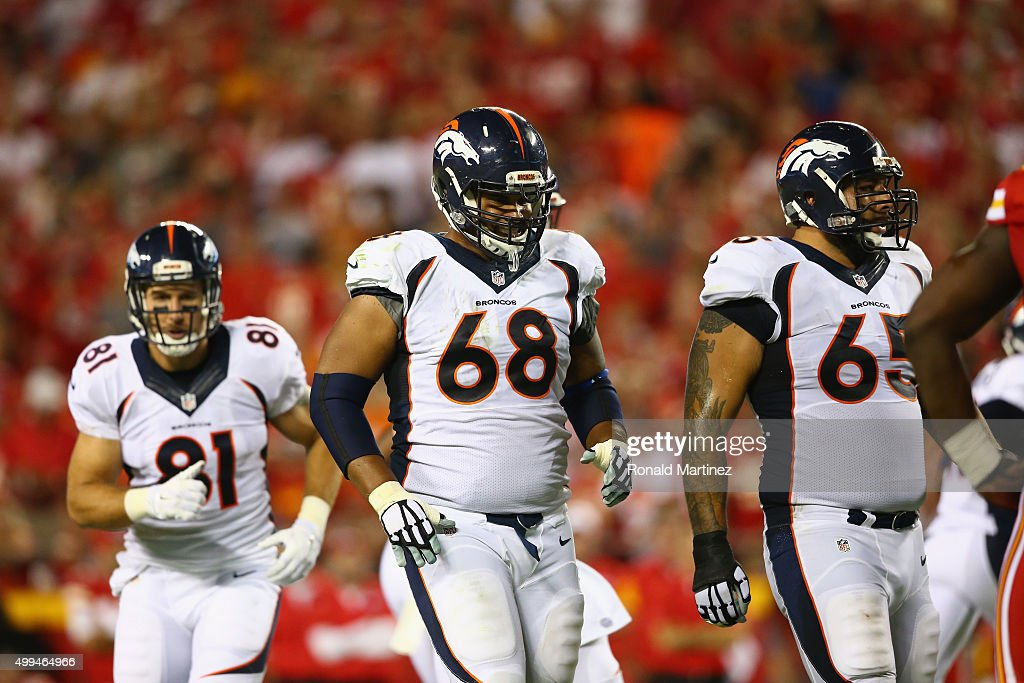 Ryan Harris #68 of the Denver Broncos at Arrowhead Stadium on September 17, 2015 in Kansas City, Missouri.