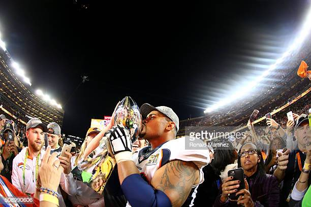 Ryan Harris of the Denver Broncos celebrates with the Vince Lombadi Trophy after Super Bowl 50 at Levi's Stadium on February 7 2016 in Santa Clara...