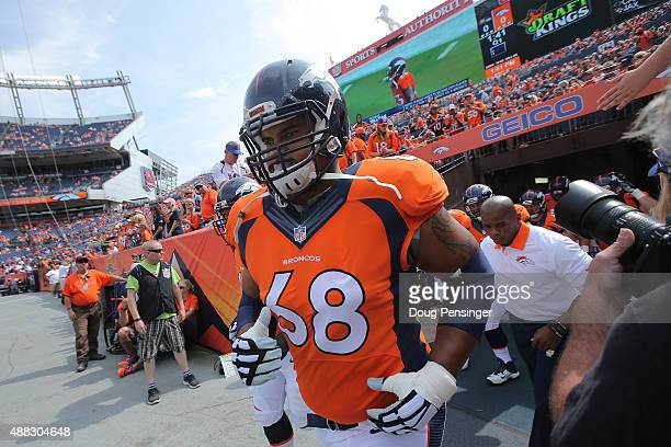 Ryan Harris of the Denver Broncos takes the field to face the Baltimore Ravens at Sports Authority Field at Mile High on September 13 2015 in Denver...