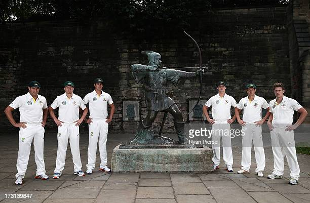 Ryan Harris Peter Siddle Mitchell Starc Jackson Bird James Pattinson and James Faulkner of Australia pose with the Robin Hood statue during an...