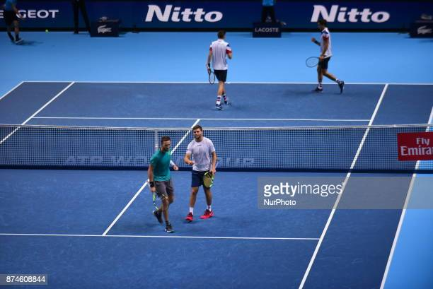 Ryan Harrison of The United States and Michael Venus of New Zealand win against Nicolas Mahut of France and PierreHugues Herbert of France in their...