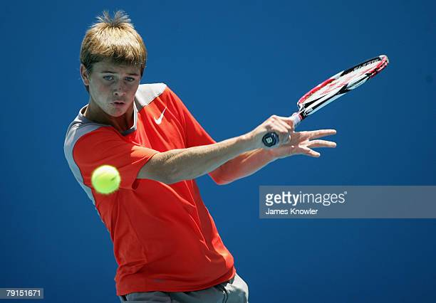 Ryan Harrison of the United States of America plays a backhand during his junior boys match against Sam GarforthBles of Canada on day nine of the...