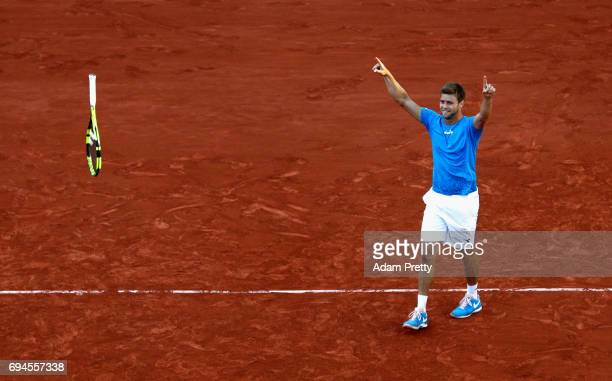 Ryan Harrison of The United States, partner of Michael Venus of New Zealand celebrates victory in the mens doubles final match against Donald Young...