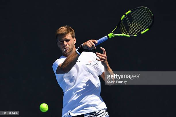 Ryan Harrison of the United States plays a forehand in his second round match against Thomas Berdych of the Czech Republic on day three of the 2017...
