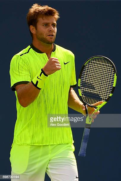 Ryan Harrison of the United States reacts against Marcos Baghdatis of Cyprus during his third round Men's Singles match on Day Five of the 2016 US...
