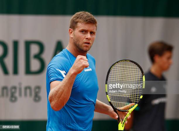 Ryan Harrison of The United States reacts during the mens singles first round match against Aljaz Bedene of Great Britain on day two of the 2017...