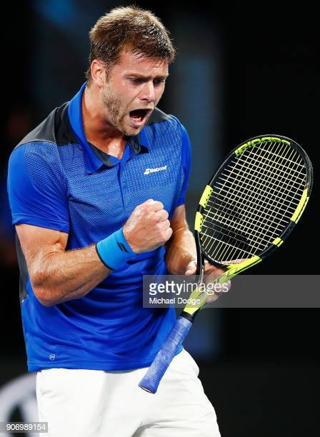 Ryan Harrison of the USA celebrates a point in his third round match against Marin Cilic of Croatia on day five of the 2018 Australian Open at...
