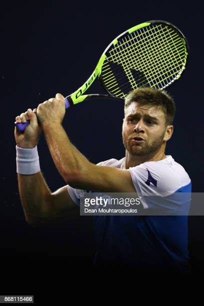 Ryan Harrison of the USA competes against Peter Gojowczyk of Germany during Day 1 of the Rolex Paris Masters held at the AccorHotels Arena on October...