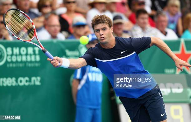 Ryan Harrison of the USA plays a forehand in his match against Sam Querrey of the USA during day two of the 2012 Heineken Open at the ASB Tennis...