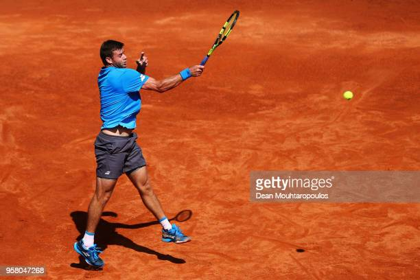 Ryan Harrison of the USA returns a forehand in his match against Yuichi Sugita of Japan during day one of the Internazionali BNL d'Italia 2018 tennis...