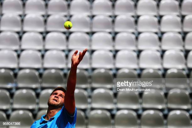 Ryan Harrison of the USA serves in his match against Yuichi Sugita of Japan during day one of the Internazionali BNL d'Italia 2018 tennis at Foro...