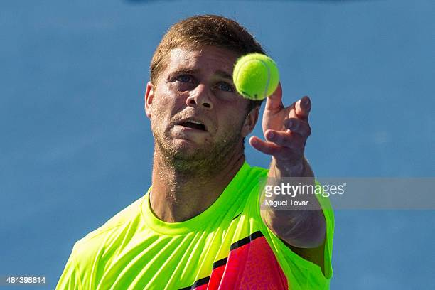 Ryan Harrison of US serves during a men's singles match against Grigor Dimitrov of Bulgary as part of Telcel Mexican Open 2015 at Mextenis Stadium on...