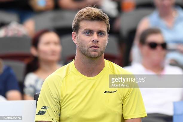 Ryan Harrison of USA looks on in his match against Nick Kyrgios of Australia during day three of the 2019 Brisbane International at Pat Rafter Arena...