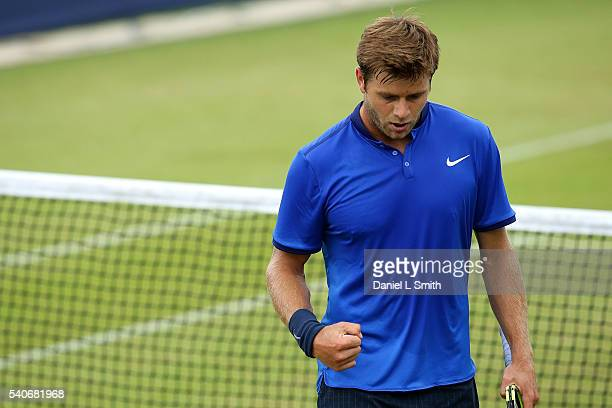 Ryan Harrison of USA reacts during his mens singles match against Daniil Medvedev of Russia during the Aegon Ilkley Trophy at Ilkley Lawn Tennis...