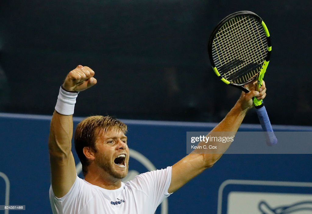 Ryan Harrison reacts after defeating Kyle Edmund of Great Britain during the BB&T Atlanta Open at Atlantic Station on July 29, 2017 in Atlanta, Georgia.