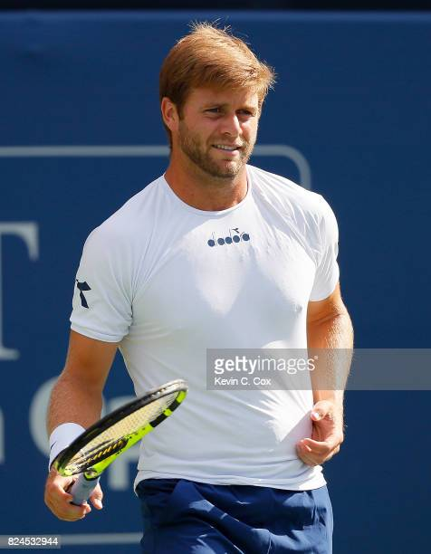 Ryan Harrison reacts during the match against John Isner during the BBT Atlanta Open at Atlantic Station on July 30 2017 in Atlanta Georgia