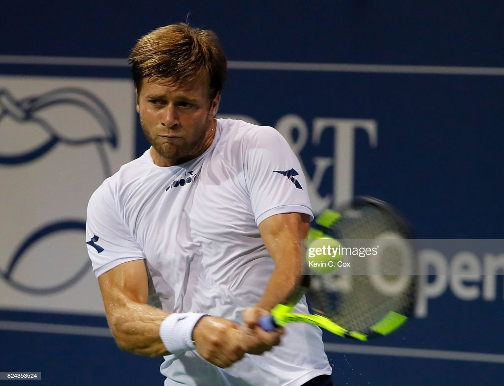 Ryan Harrison returns a backhand to Kyle Edmund of Great Britain during the BB&T Atlanta Open at Atlantic Station on July 29, 2017 in Atlanta, Georgia.