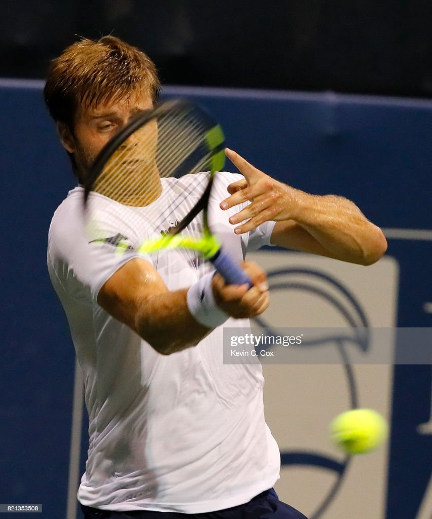 Ryan Harrison returns a forehand to Kyle Edmund of Great Britain during the BB&T Atlanta Open at Atlantic Station on July 29, 2017 in Atlanta, Georgia.