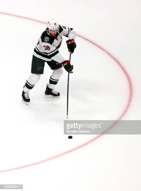 Ryan Hartman of the Minnesota Wild at Honda Center on October 15, 2021 in Anaheim, California.