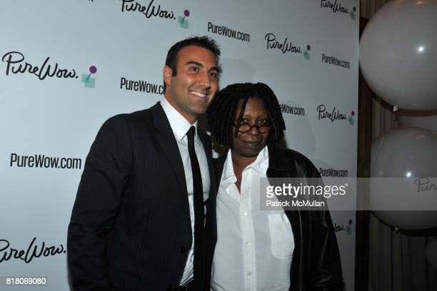 Ryan Harwood and Whoopi Goldberg attend The Launch of PureWowcom at R Lounge on September 29 2010 in New York Times Square Hotel New York