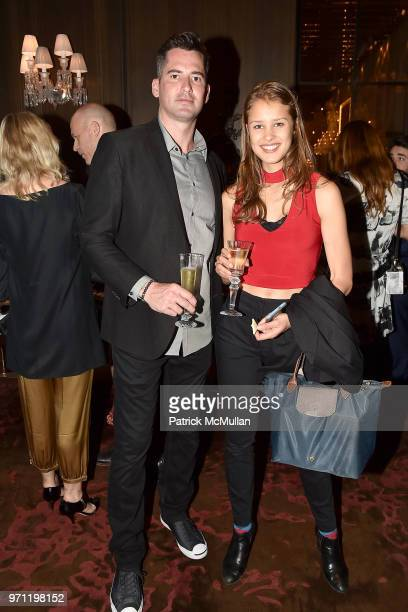 Ryan Hattaway and Claudia Liberova attend Christopher R King Debuts New Luxury Brand CCCXXXIII at Baccarat Hotel on June 5 2018 in New York City