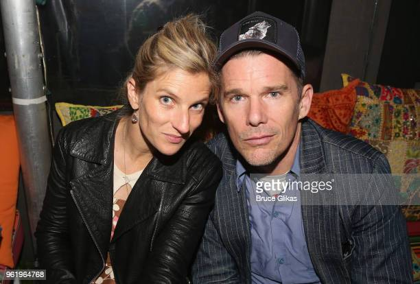 Ryan Hawke and husband Ethan Hawke pose at the opening night after party for The New Group Theater's new play Peace For Mary Frances at The Yotel...