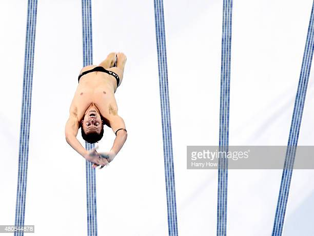 Ryan Hawkins of the United States of America competes during the men's 10M platform diving final at the CIBC Aquatic Centre on July 12 2015 in...