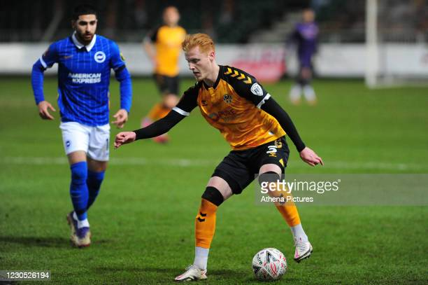 Ryan Haynes of Newport County in action during the FA Cup Third Round match between Newport County and Brighton And Hove Albion at Rodney Parade on...