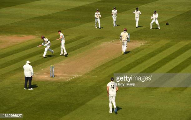 Ryan Higgins of Gloucestershire appeals successfully after taking the wicket of Tom Abell of Somerset during Day Three of the LV= Insurance County...