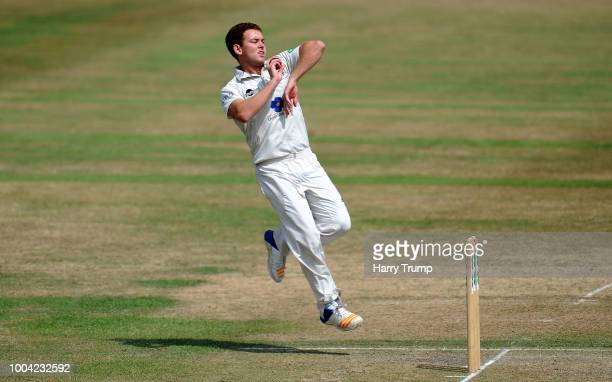 Ryan Higgins of Gloucestershire bowls during Day Two of the Specsavers County Championship Division Two match between Gloucestershire and Durham at...